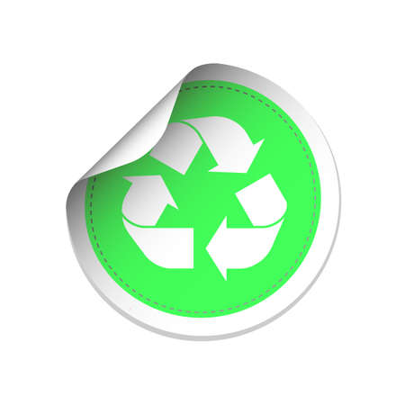 recycling symbols: White recycle symbol on green label illustration