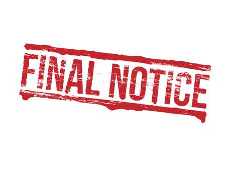 dept: Final notice grungy rubber stamp symbol