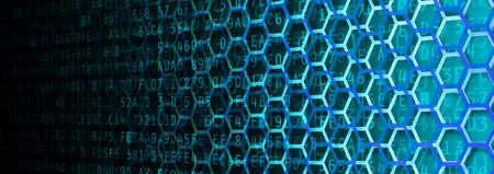 fading: Hexagon and hexadecimal computer code fading banner