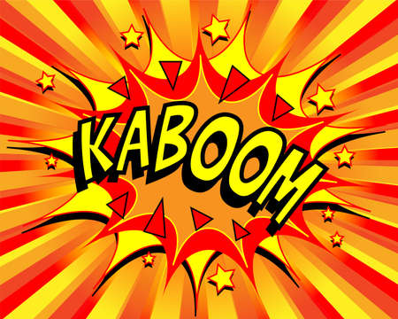 Exploding cartoon kaboom text caption vector illustration