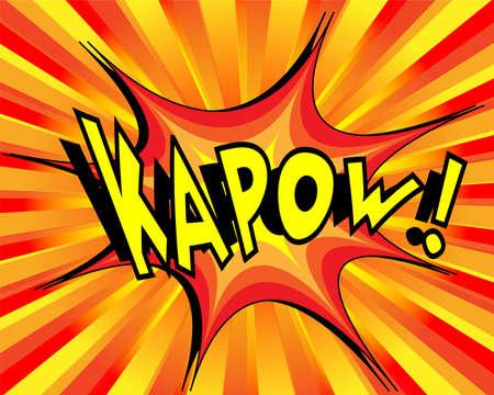 kapow: Exploding cartoon kapow text caption vector illustration Illustration