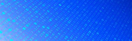tecnología informatica: Azul ordenador ilustración de datos hexadecimal código de banner Foto de archivo