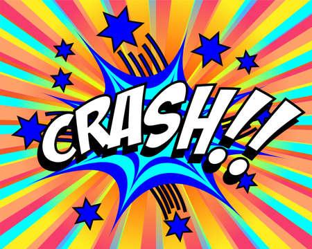 comedic: Exploding cartoon crash text caption vector illustration