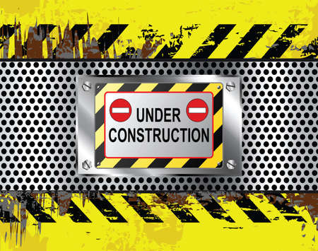 beaten: Industrial under construction sign grungy background vector illustration Illustration