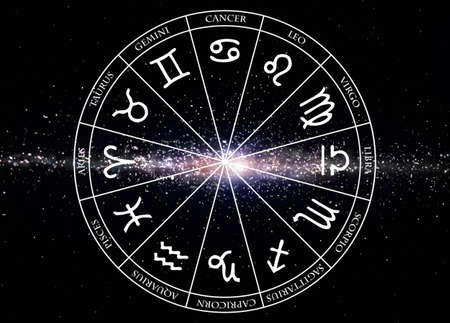 Signs of the zodiac on galaxy background