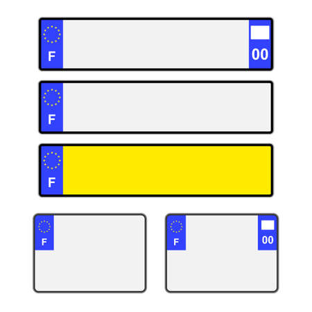numberplate: Blank French vehicle licence plates in different styles vector Illustration