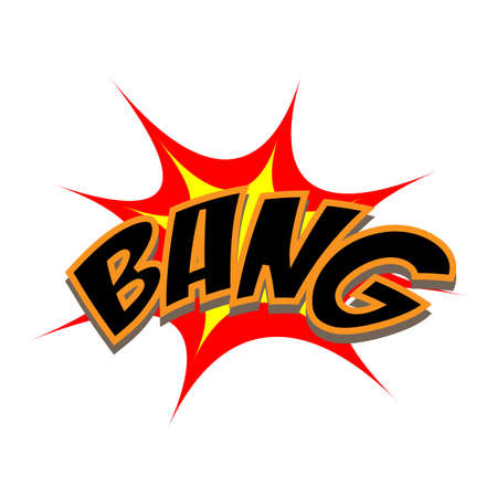 bang: Exploding cartoon bang text caption vector illustration