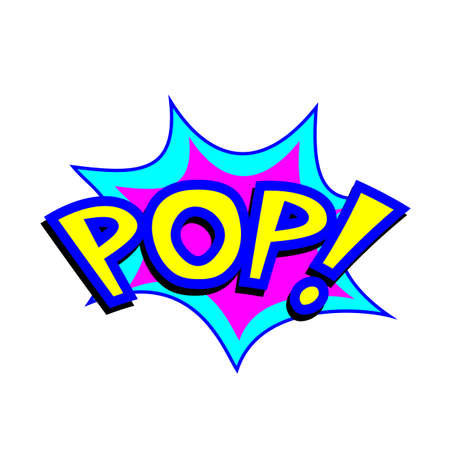 Exploding cartoon pop text caption vector illustration