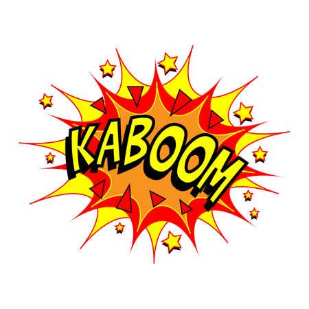 kapow: Exploding cartoon Kaboom text caption vector illustration