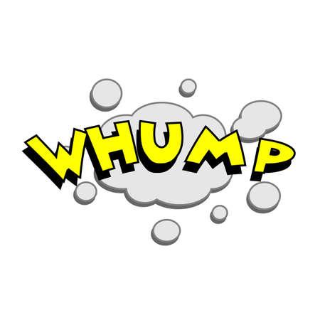 comedic: Cartoon whump colorful text caption vector illustration