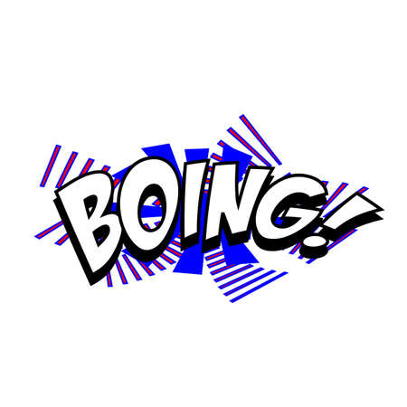 boing: Cartoon boing sound colorful text caption vector illustration