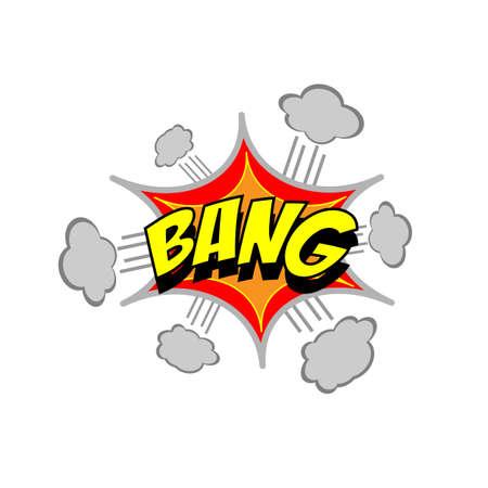 Exploding cartoon bang text caption vector illustration