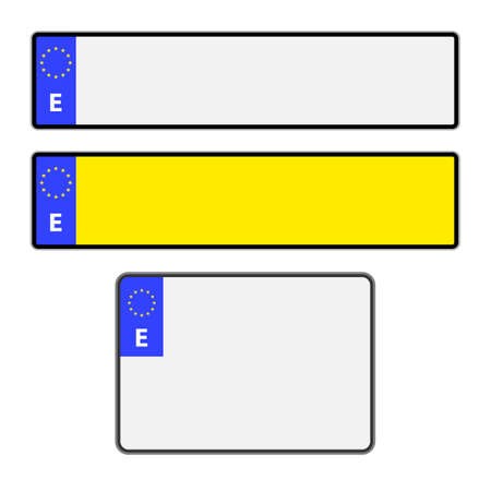 numberplate: Blank Spanish vehicle licence number plates in different styles vector Illustration