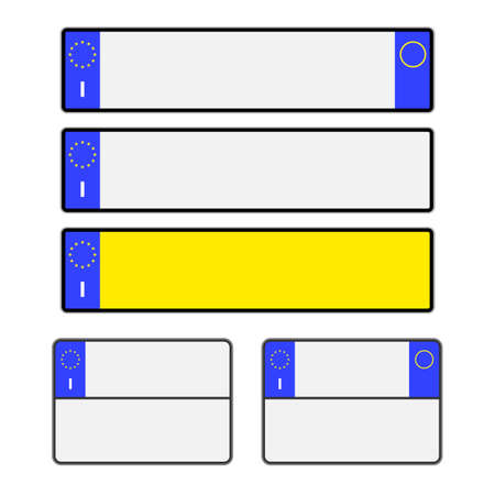 Blank Italian vehicle licence number plates in different styles vector Illustration