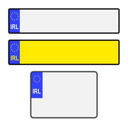 Blank Southern Ireland vehicle licence number plates in different styles vector