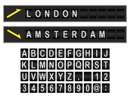departure board: Mechanical departure and arrival board letters and numbers. Flip over vector display font