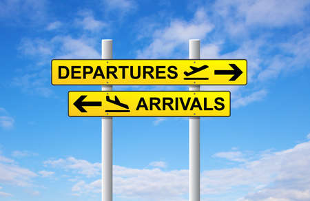 arrival: Arrivals and departures airport direction sign on blue sky