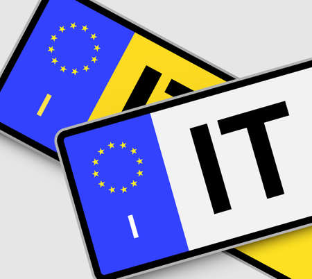 italy street: Front and rear Italian vehicle licence plates with EU marking