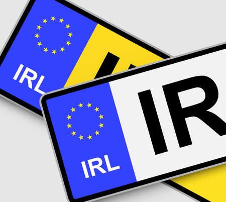 numberplate: Front and rear Irish vehicle licence plates with EU marking