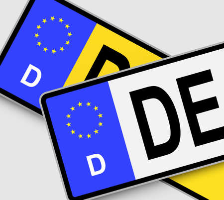 reg: Front and rear German vehicle licence plates with EU marking