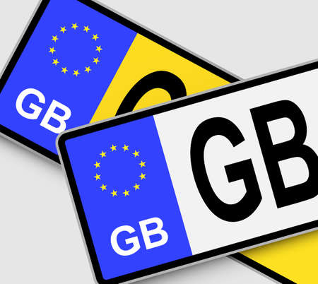 Front and rear British vehicle licence plates with EU marking