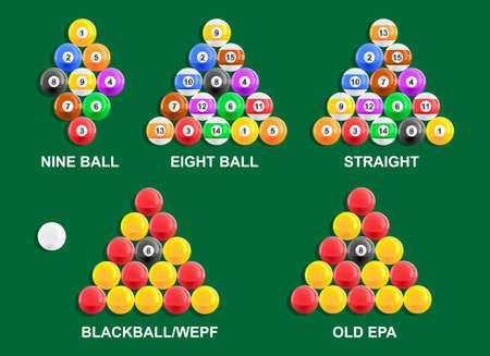 Different American and English pool ball racks Illustration