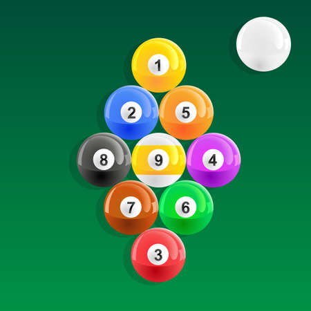American pool balls racked in 9 ball style