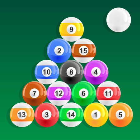 American pool balls racked in 8 ball style Illustration