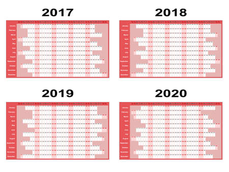 organiser: Full year wall planners for 2017, 2018, 2019 and 2020. Vector illustration Illustration
