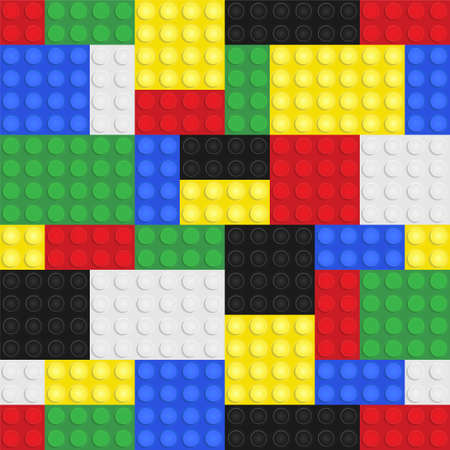 building bricks: Plastic toy building blocks background. Repeating tileable vector illustration that repeats left, right, up and down