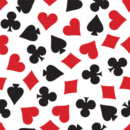 clubs diamonds: Hearts, spades, clubs and diamonds card suits background. Repeating tileable vector illustration that repeats left, right, up and down