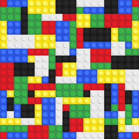 building bricks: Plastic toy building bricks background. Repeating tileable vector illustration that repeats left, right, up and down