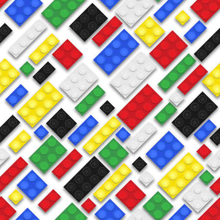 building bricks: Plastic toy building bricks background. Repeating tileable illustration that repeats left, right, up and down