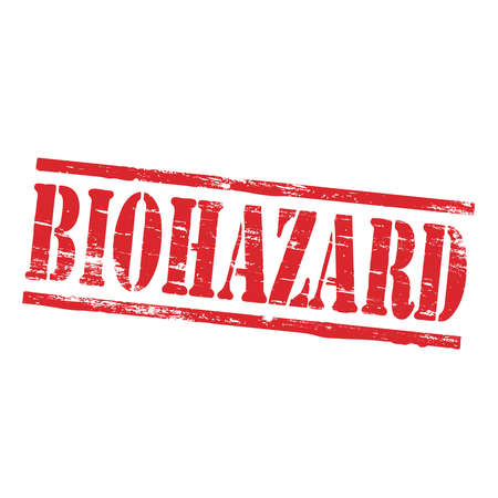 biohazard: Biohazard grungy rubber stamp symbol vector illustration