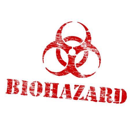 biohazard sign: Biohazard symbol grungy rubber stamp symbol vector illustration Illustration