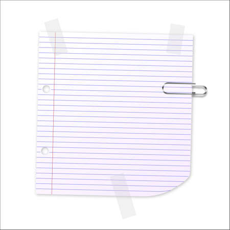 notelet: Lined writing paper with clear tape and paperclip