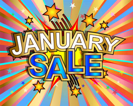 january: Exploding January sale text colorful action vector illustration