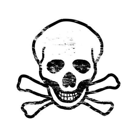 Skull and crossbones grungy rubber stamp symbol vector illustration Illustration