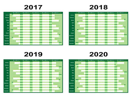 planners: Full year wall planners for 2017, 2018, 2019 and 2020. Vector illustration Illustration