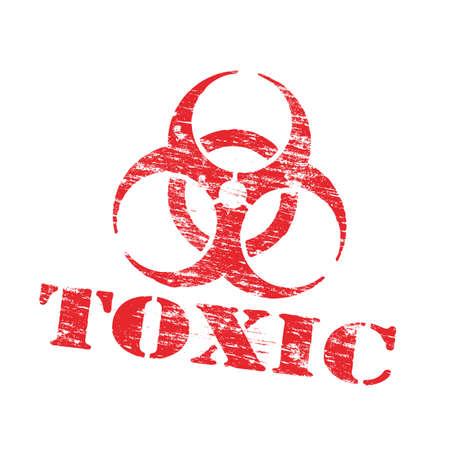 Toxic biohazard symbol grungy rubber stamp vector illustration