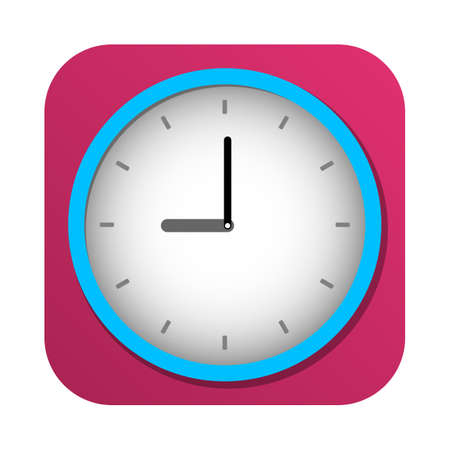 appointments: Simple colorful square clock icon vector illustration Illustration