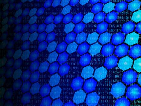 Hexadecimal data and hexagons fading against black background illustration Stock Photo