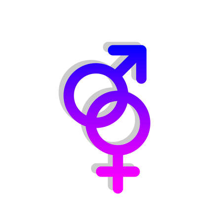 Male and female pink and blue gender symbols connected together Illustration