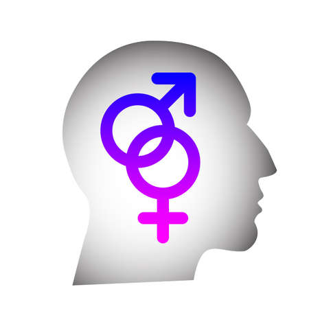 Head silhouette containing male and female pink and blue gender symbols connected together Illustration