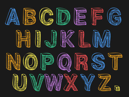 black boards: Colored chalk font on black background vector