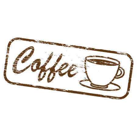 decaf: Coffee cup icon rubber stamp vector illustration
