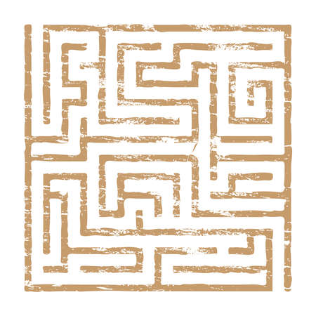 faded: Faded maze puzzle icon grungy vector illustration