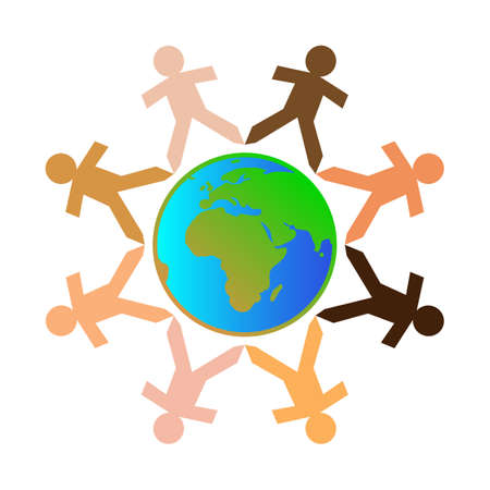 Paper chain cut out people with different skin tone colors surrounding the earth