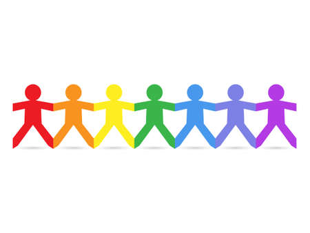 paper cut out: Paper chain cut out people in rainbow colors  Illustration