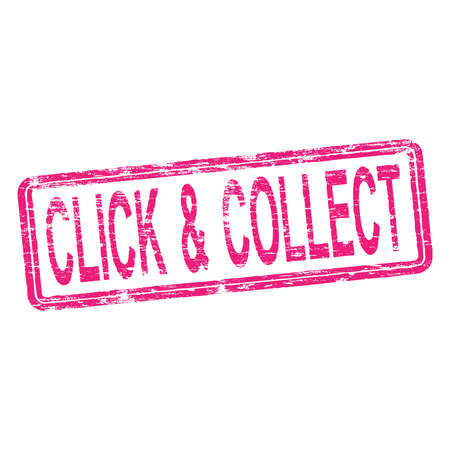 to collect: Click and collect rubber stamp vector illustration